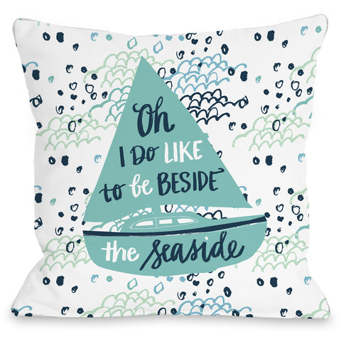 """Beside The Seaside"" Outdoor Throw Pillow by Jeanetta Gonzales, 16""x16"""