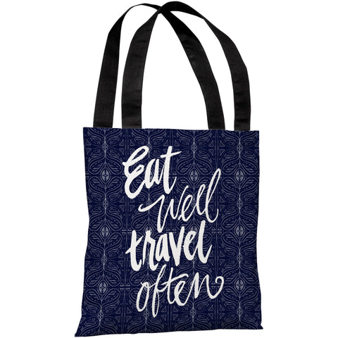 """Eat Well Travel Often"" 18""x18"" Tote Bag by Jeanetta Gonzales"