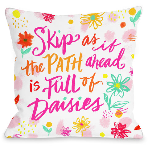 """Path Ahead Full Of Daisies"" Indoor Throw Pillow by Jeanetta Gonzales, 16""x16"""