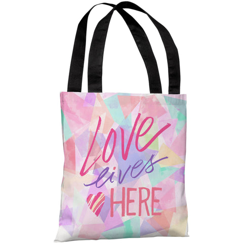 """Love Lives Here"" 18""x18"" Tote Bag by Jeanetta Gonzales"