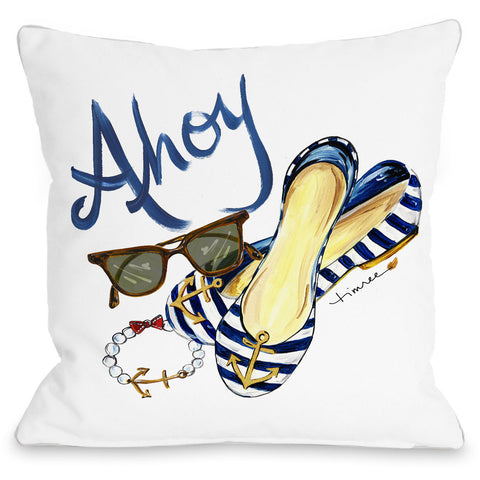 """Ahoy Shoes"" Outdoor Throw Pillow by Timree Gold, 16""x16"""