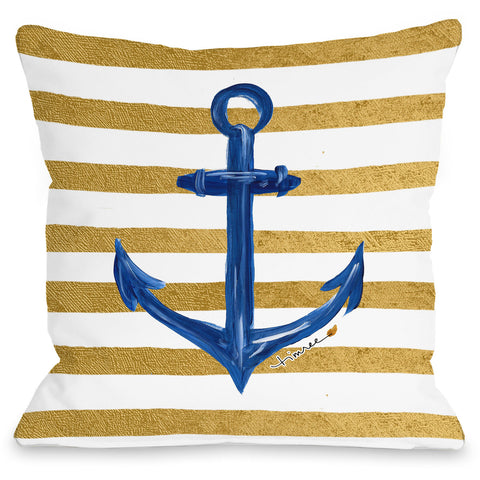 """Anchor Gold Stripes"" Indoor Throw Pillow by Timree Gold, 16""x16"""