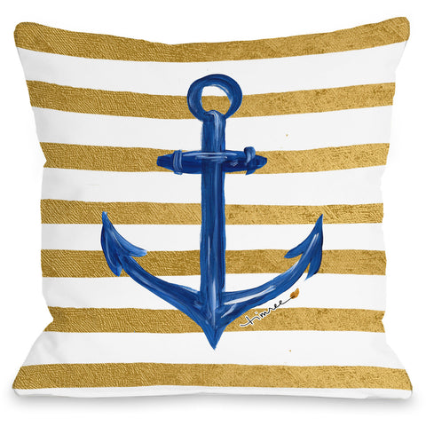 """Anchor Gold Stripes"" Outdoor Throw Pillow by Timree Gold, 16""x16"""