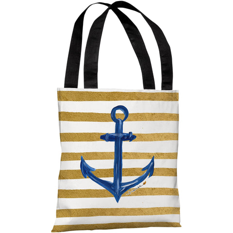 """Anchor Gold Stripes"" 18""x18"" Tote Bag by Timree Gold"