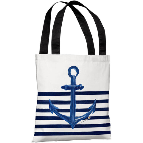 """Anchor Half Stripe"" 18""x18"" Tote Bag by Timree Gold"