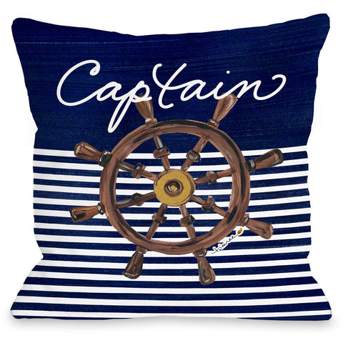 """Captain Wheel"" Indoor Throw Pillow by Timree Gold, 16""x16"""