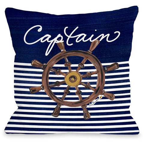 """Captain Wheel"" Outdoor Throw Pillow by Timree Gold, 16""x16"""