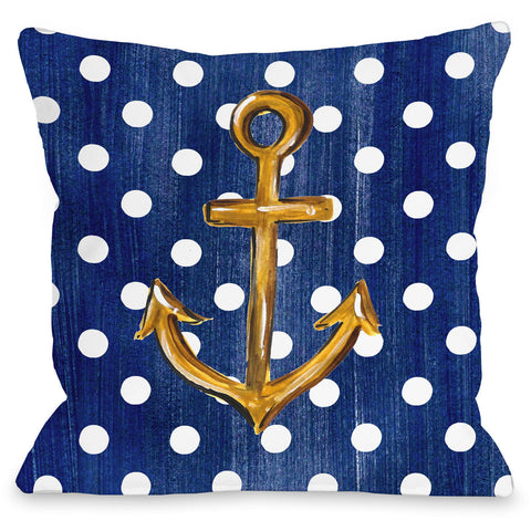"""Gold Anchor Dots"" Outdoor Throw Pillow by Timree Gold, 16""x16"""