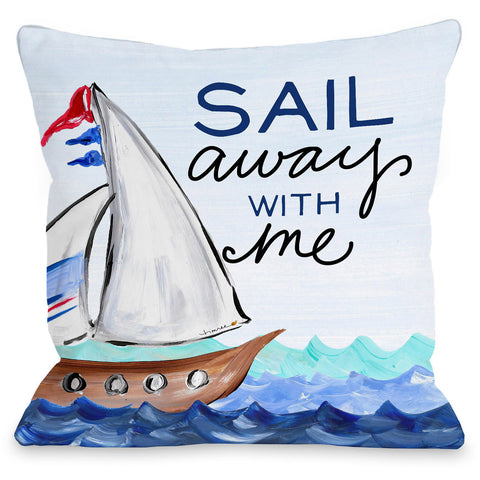 """Sail Away"" Outdoor Throw Pillow by Timree Gold, 16""x16"""