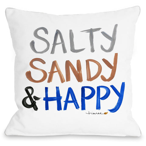 """Salty Sandy & Happy"" Outdoor Throw Pillow by Timree Gold, 16""x16"""