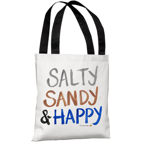 """Salty Sandy & Happy"" 18""x18"" Tote Bag by Timree Gold"
