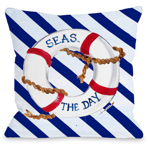 """Seas the Day"" Outdoor Throw Pillow by Timree Gold, 16""x16"""