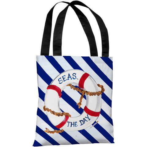 """Seas the Day"" 18""x18"" Tote Bag by Timree Gold"