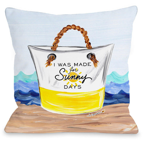 """I Was Made For Sunny Days"" Outdoor Throw Pillow by Timree Gold, 16""x16"""