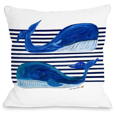 """Whale Buddies"" Outdoor Throw Pillow by Timree Gold, Navy, 16""x16"""