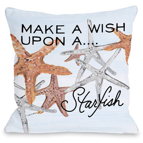 """Wish Upon A Starfish"" Outdoor Throw Pillow by Timree Gold, 16""x16"""