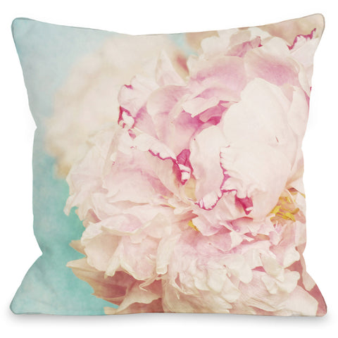 """Delicate Peony"" Indoor Throw Pillow by OneBellaCasa, 16""x16"""
