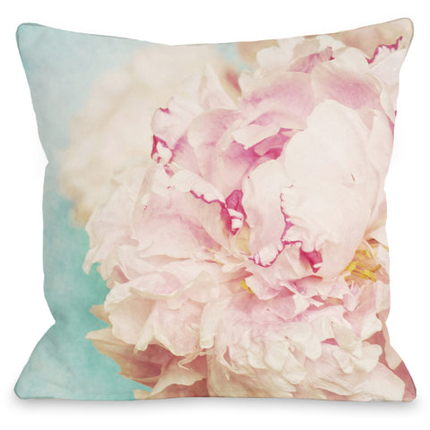"""Delicate Peony"" Outdoor Throw Pillow by OneBellaCasa, 16""x16"""