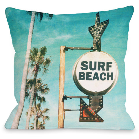 """Surf Beach Sign"" Outdoor Throw Pillow by OneBellaCasa, 16""x16"""