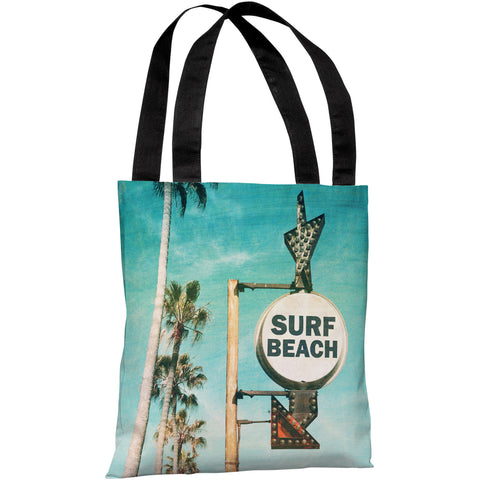 """Surf Beach Sign"" 18""x18"" Tote Bag by OneBellaCasa"