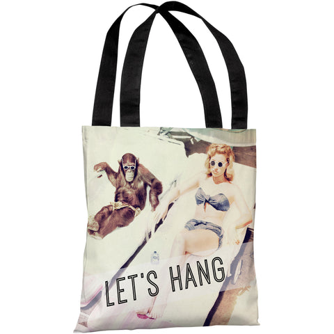 """Let's Hang Babe And Chimp"" 18""x18"" Tote Bag by OneBellaCasa"