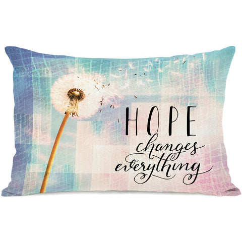 """Hope Changes Everything Dandelion"" Indoor Throw Pillow by OneBellaCasa, 14""x20"""