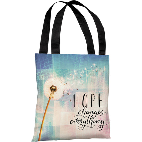 """Hope Changes Everything Dandelion"" 18""x18"" Tote Bag by OneBellaCasa"