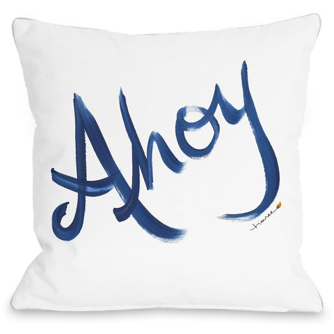 """Ahoy"" Outdoor Throw Pillow by Timree Gold, 16""x16"""