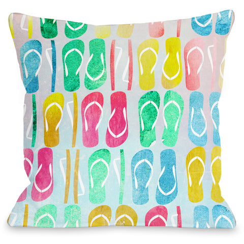 """Flip Flop Nation"" Outdoor Throw Pillow by OneBellaCasa, 16""x16"""