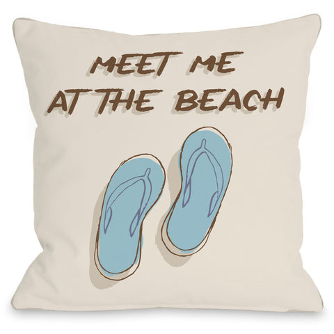 """Meet Me At The Beach"" Outdoor Throw Pillow by OneBellaCasa, 16""x16"""