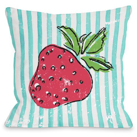 """Strawbooty"" Indoor Throw Pillow by OneBellaCasa, 16""x16"""