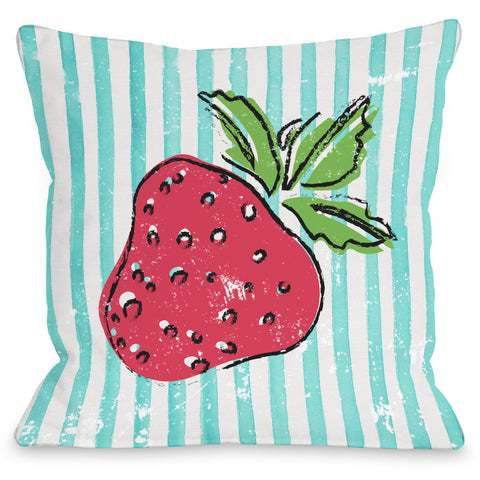 """Strawbooty"" Outdoor Throw Pillow by OneBellaCasa, 16""x16"""