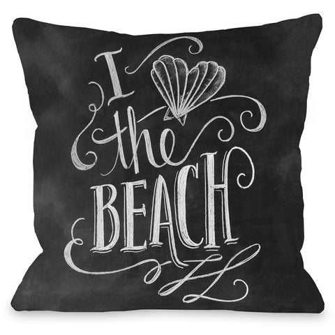 """Heart Shell Beach"" Outdoor Throw Pillow by Lily & Val, 16""x16"""