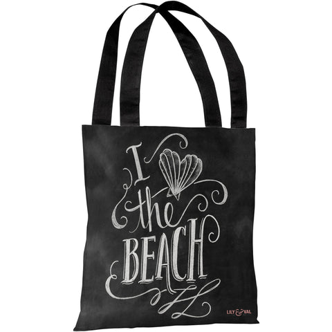 """Heart Shell Beach"" 18""x18"" Tote Bag by Lily & Val"
