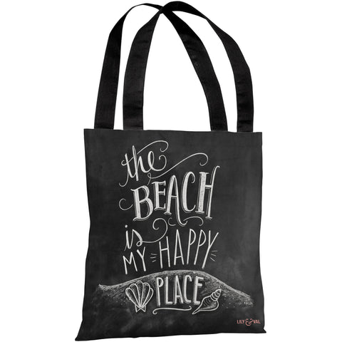 """The Beach Is My Happy Place"" 18""x18"" Tote Bag by Lily & Val"
