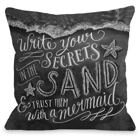 """Secrets In The Sand"" Outdoor Throw Pillow by Lily & Val, 16""x16"""