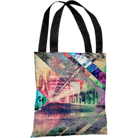 """Distressed Building"" 18""x18"" Tote Bag by OneBellaCasa"