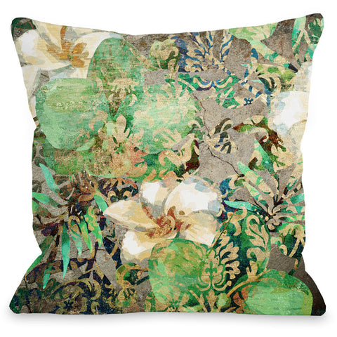"""Equa Floral Wall"" Outdoor Throw Pillow by OneBellaCasa, 16""x16"""