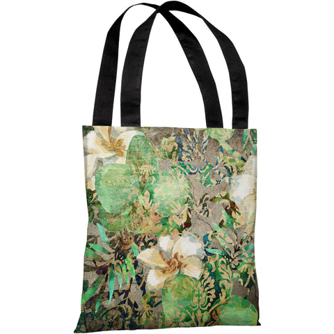 """Equa Floral Wall"" 18""x18"" Tote Bag by OneBellaCasa"