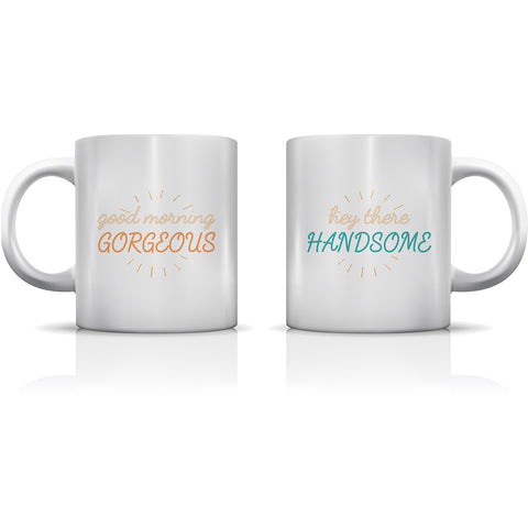 """Gorgeous & Handsome"" Set of Mugs by OneBellaCasa"
