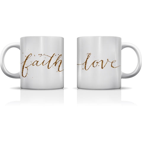 """Faith & Love"" Set of Mugs by OneBellaCasa"