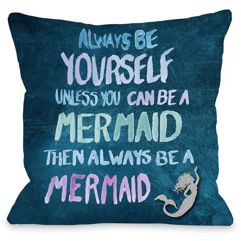 """Be A Mermaid - Navy Multi"" Outdoor Throw Pillow by OneBellaCasa, 16""x16"""