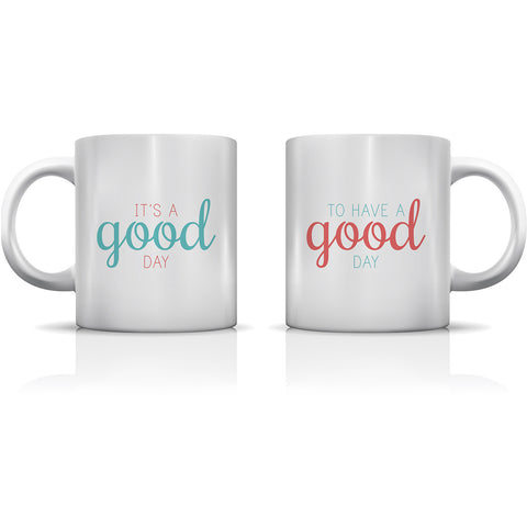 """Good Day"" Set of Mugs by OneBellaCasa"