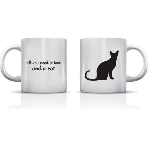 """All You Need Is Love And A Cat"" Set of Mugs by OneBellaCasa"