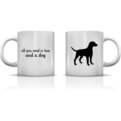 """All You Need Is Love And A Dog"" Set of Mugs by OneBellaCasa"