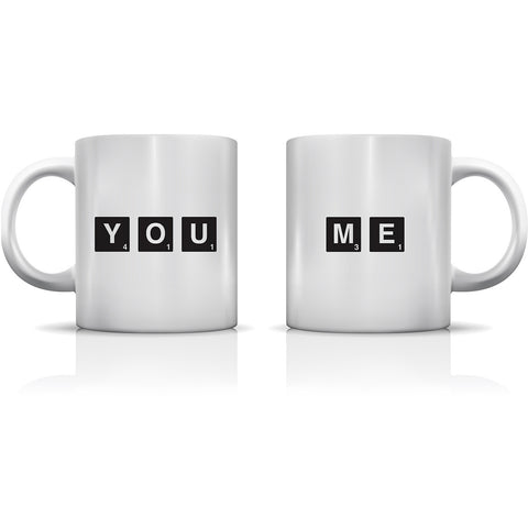 """You & Me Scrabble Pieces"" Set of Mugs by OneBellaCasa"