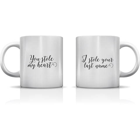 """Stole Your Heart & Last Name"" Set of Mugs by OneBellaCasa"