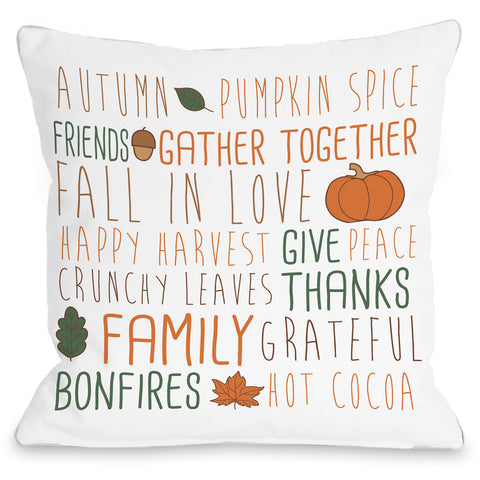 """Harvest Word Collage"" Indoor Throw Pillow by OneBellaCasa, Cream, 16""x16"""