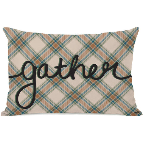 """Plaid Gather"" Indoor Throw Pillow by OneBellaCasa, 14""x20"""