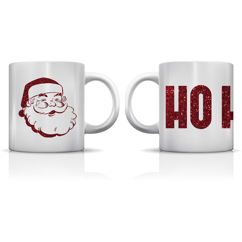 """Ho Ho Ho Glitter"" Set of Mugs by OneBellaCasa"